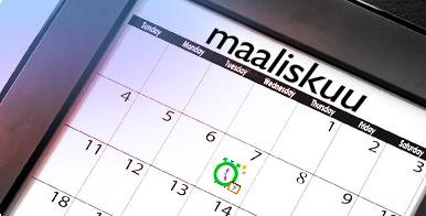 Kuva kalenterista jossa yksi päivä on ympyröity vihreällä. Kuva liittyy kuukautiskalenteri-sovelluksen käyttöön.