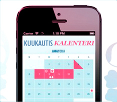 Kuva kännykästä jossa kuukautiskalenteri-sovellus on avattuna. Kuva kuvastaa miltä kalenteri-sovellus näyttäisi käytännössä.
